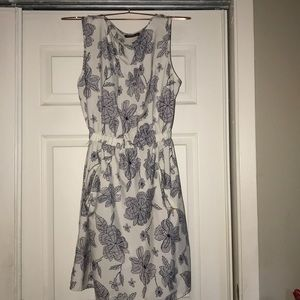 White dress with blue flower print